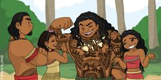 About how I imagine Maui meeting Moana's parents for the first time would go. XD I'm really happy with this, but damn did it take a long time - especially Maui's tattoos.. (Which aren't even exact, by the way, but I did the best I could.) Anyway, I'm...