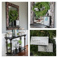 """Christmas Sideboard decor with hand stamped """"happy happy joy joy"""" ornaments on evergreen wreath"""