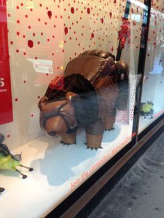 John Lewis window display in Sloane Square, London | Animals made up of products