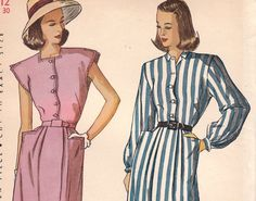 Vintage Dress Pattern 1940s Simplicity 1658 by OneMoreCupOfTea
