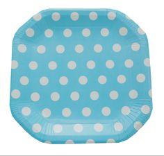 Prato de papel poá azul / pratinhos para festa poá azul. Pacote com 8 und.