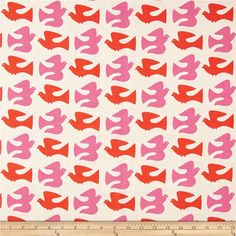 Designed by Jessica Jones for Cloud 9 Fabrics, this certified 100% organic cotton barkcloth fabric meets the GOTS certification; only low impact, organic dyes were used in this product. Screen-printed on textured 100% organic cotton fabric, this versatile, medium weight fabric is perfect for window accents (draperies, valances, curtains and swags), toss pillows, bed skirts, duvet covers, slipcovers, upholstery and other home decor accents. Colors include orange, pink, and beige.