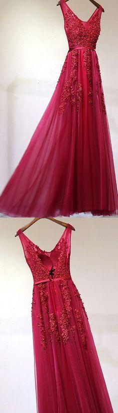 Applique Evening Dresses, Burgundy A-line/Princess Evening Dresses, Long Burgundy Prom Dresses, Prom Dresses A-line Burgundy Tulle Prom Dress/Evening Dress