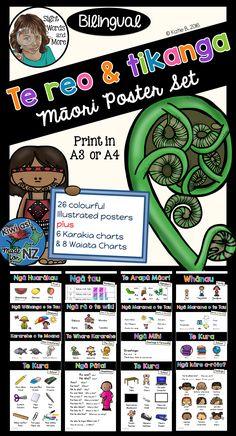 26 colourful, bilingual (Māori and English) posters plus 6 Karakia and 8 Waiata to assist you in incorporating te reo and tikanga Māori into your classroom display and programme.