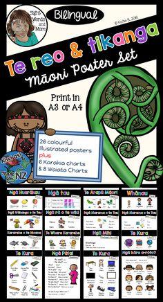 26 colourful, bilingual (Māori and English) posters plus 6 Karakia and 8 Waiata to assist you in incorporating te reo and tikanga Māori into your classroom display and programme.