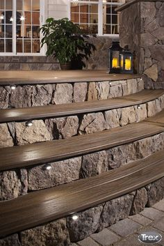 50 Cozy Backyard Patio Deck Design and Decor Ideas Patio Steps, Garden Steps, Outdoor Steps, Wood Steps, Backyard Lighting, Patio Lighting, Lighting Ideas, String Lighting, Outdoor Spaces