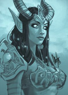 Draenei by Mel Milton . Character Sketch / Drawing Illustration Inspiration Art