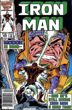 """comicbookcovers: """"Iron Man #205, April 1986, cover by MD Bright """" more comics here"""