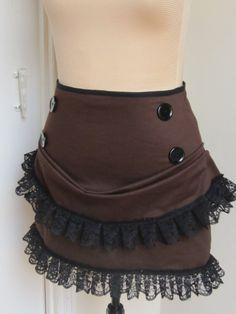 Brown steampunk mini bustle skirt made to by blackmirrordesign, $69.00