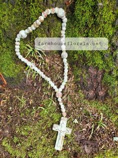 Clay Garden Rosary Beads Autumn Wreaths For Front Door, Fall Wreaths, Door Wreaths, Beaded Cross, Rosary Beads, Clay Beads, See Photo, Home Projects, Fall Decor