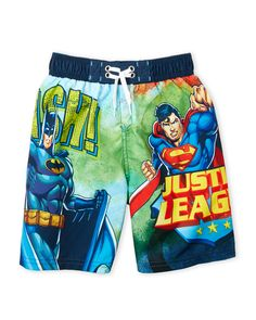 76a6c871905de (Boys 4-7) Super Hero Board Shorts. Justice LeagueSuperheroSwim TrunksBoard Summer ...
