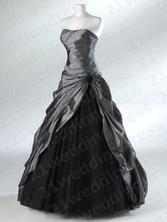 Strapless Ruffles High Low Gray Taffeta Black by 21weddingdress, $169.00