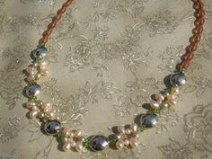 Pastel Pearl & Swarovski Peridot Crystal Beaded by kokopelligirl, $35
