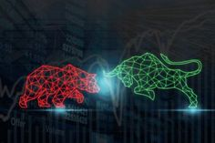 Polygonal bull and bear shape writing by lines and dots over the Stock market chart with information over the Modern business building glass of skyscrapers, trading and finance investment concept Apple Wallpaper Iphone, Aesthetic Iphone Wallpaper, Day Trader, Wall Street, Stock Market Chart, Venice Beach California, Writing Lines, Fire Heart, Graphic Design Illustration
