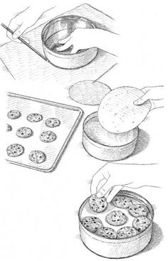 Use a tortilla along with parchment paper to keep a tin of chewy cookies from getting stale. The tortillas fit tidily into the tin, where their moisture keeps cookies soft for days. Start by tracing the bottom of a cookie tin on a sheet of parchment paper, then cut it out and repeat as needed. Layer the parchment, a tortilla, parchment, and layer of completely cooled cookies in the tin. Repeat until the tin is full, ending with a layer of cookies.