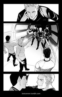 I'm drawing a story about Mirror! AOS and original AOS. Mirror Krik and Spock will flirt with original Jim and spock! Star Trek V, Star Trek Ships, Spock, Stephen Hawking, Mirror Universe, Star Trek Cosplay, Cartoon As Anime, Famous Movie Quotes, Counting Stars