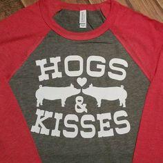Hogs and Kisses Raglan Tshirt Pig Showing, Woo Pig Sooie, Pot Belly Pigs, Pig Pen, Funny Pigs, Pig Roast, Showing Livestock, Valentine T Shirts, Ffa