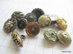 12 VINTAGE ANTIQUE BUTTONS Victorian Metal Glass Carved Shell Painted Flowers + | eBay.Sold for $23.95