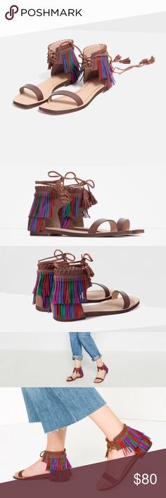 Fringe Sandals Did someone say fringe?! Leather contrasting fringe with leather lace up closure with Pom poms! 6.5 USA and 37 euro Zara Shoes Sandals