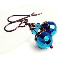 Metallic Blue Earrings Antique Brass with Swarovski by MsBsDesigns