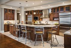 Kitchen island shows off multiple levels