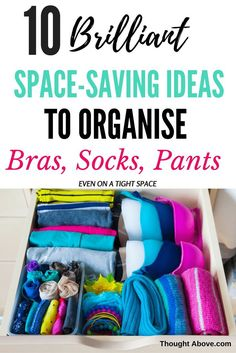 This post is incredible it has so much information on bra storage ideas, socks storage, underwear organization drawer. So if you want to know how to organize your bra even with a tight space then check this post. Lingerie Organization, Sock Organization, Wardrobe Organisation, Bedroom Organization, Bedroom Storage, Organizing Ideas, Organising Hacks, Organizing Drawers, Organized Bedroom