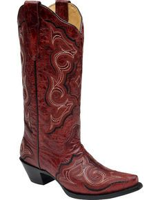 Corral Red Embroidered Cowgirl Boots - Snip Toe, Red