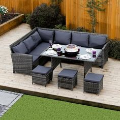 9 Seater Rattan Corner Garden Sofa & Dining Table Set In Dark Mixed Grey With Dark Cushions images ideas from Home Table Ideas Corner Garden Furniture, Garden Furniture Sale, Garden Sofa Set, Sofa Furniture, Furniture Sets, Furniture Design, Rattan Corner Sofa, Corner Sofa Set, Rattan Sofa