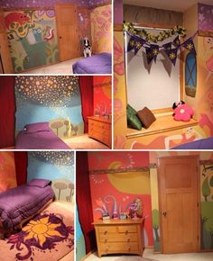 Tangled- One of my favorite Disney movies. This would be such a cute room if I have a daughter. I just love the bright colors.