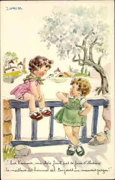 Artist Postcard Jansen, Zwei Mädchen   akpool.de