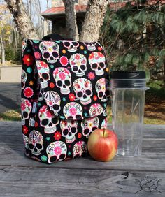 Sugar Skulls Lunch Bag Insulated Reusable Lunch Box Made To Order - My Sugar Skulls