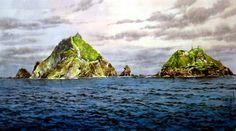 (North Korea) Dokdo island in the East sea by Yang Yun-pung (1953-   ). 양윤풍.