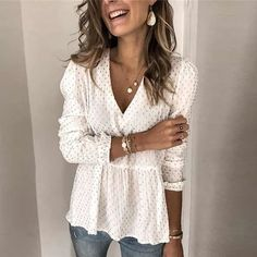 Dot Printed Peplum Blouse Colors) – MoonMandy You are in the right place about spring outfits 202 Spring Blouses, Spring Tops, Peplum Blouse, Printed Blouse, White Blouse Outfit, Peplum Top Outfits, Peplum Tops, Beautiful Blouses, Casual Sweaters