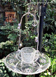 Garden Totem Vintage Glassware Bird Feeder - As Featured in Flea Market Gardens Magazine