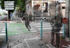 Cherbourg 1944. Avenue de Paris, ancien Poste de Police, jardin Public.