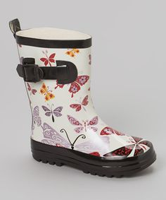 Another great find on #zulily! White Butterfly Rain Boot by Henry Ferrera #zulilyfinds