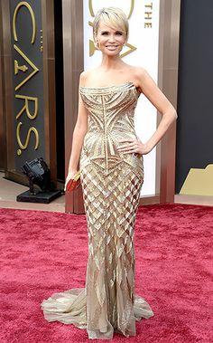 Kristin Chenoweth wears a Roberto Cavalli dress and Neil Lane jewelry at the 2014 Oscars