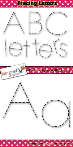 Alphabet Tracing letters font clip art - each letter is dashed.  This set is ideal for using in resources were children are required to practice letter writing and similar activities.