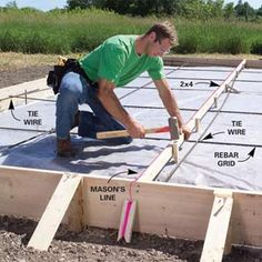 Pouring a concrete slab yourself can be a big money-saver or big mistake. We show you the best techniques for concrete forms. Concrete Pad, Concrete Bricks, Concrete Forms, Poured Concrete, Concrete Projects, Backyard Projects, Outdoor Projects, Diy Concrete Patio, Smooth Concrete