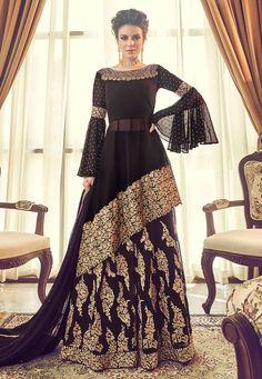 Party wear dresses - Buy Dark Purple Silk Lehenga with Silk Choli Online – Party wear dresses Designer Party Wear Dresses, Indian Designer Outfits, Indian Outfits, Eid Outfits, Fashion Designer, Girly Outfits, Pakistani Sharara, Pakistani Dress Design, Sharara Suit