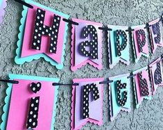 Your place to buy and sell all things handmade Simple Birthday Decorations, Handmade Decorations, Happy Birthday Banners, Birthday Diy, Polka Dot Letters, Paw Patrol Decorations, Paper Banners, Happy Party, Doll Party