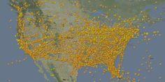US Thanksgiving Airspace Timelapse 2013 570x287 Espaço Aéreo Americano no Feriado Thanksgiving 2013 em Timelapse