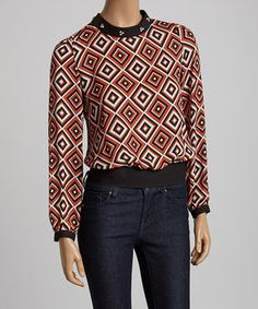 Love this I.C.U. collection Orange Geometric Beaded Top - Women by I.C.U. collection on #zulily! #zulilyfinds