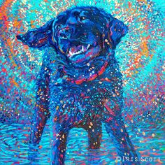 Canines In Color, Iris Scott. Oil Finger Painting @ www.AdelmanFineArt.com