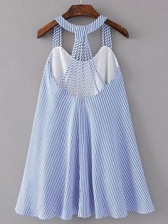 Shop Strappy Pinstripe Open Back Tent Dress online. SheIn offers Strappy Pinstripe Open Back Tent Dress & more to fit your fashionable needs. Kids Outfits, Summer Outfits, Cute Outfits, Baby Girl Dress Patterns, Tent Dress, Frock Design, Latest Street Fashion, Schneider, Blouse Designs