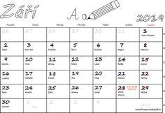 Kalendář k tisku Září 2019 | Soubory PDF zdarma pro tisk Words, Horse