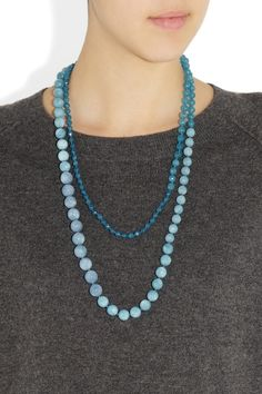 pearl knot angelite - 1/2 small 1/2 large diameter 28'' long  $725   Rosantica|Aria angelite necklace |NET-A-PORTER.COM