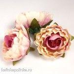 Цветы из ткани, цвет розовый, р-р цветка ок. 4.5см, ножка ок. 1см, цена за 2шт..