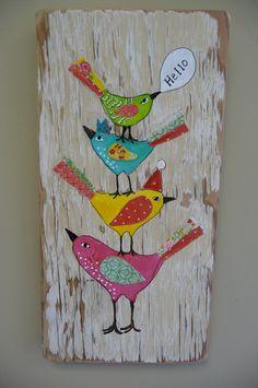 Colorful Birds Original Mixed Media on Repurposed by evesjulia12