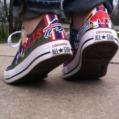 The Bills make me wanna shout, kick my heels up and shout! Buffalo Bills custom themed shoes
